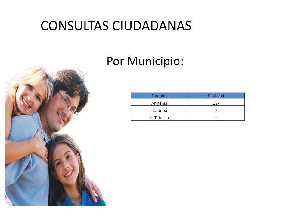 CONSULTAS CIUDADANAS Por Municipio: NombreCantidad Armenia127 Córdoba2 La Tebaida1