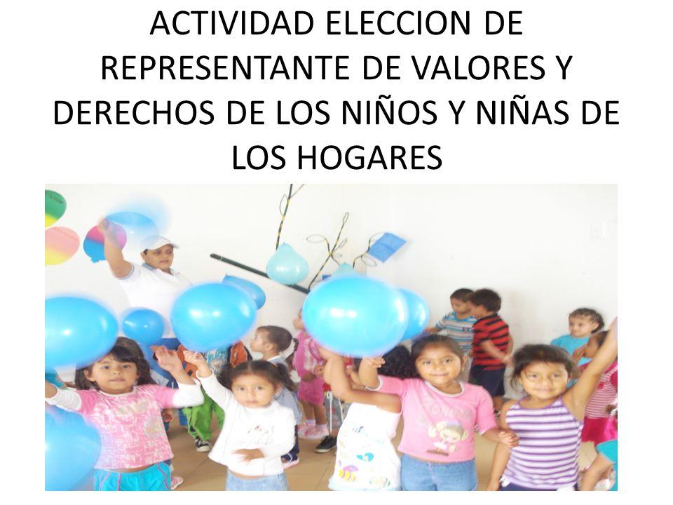 ACTIVIDAD ELECCION DE REPRESENTANTE DE VALORES Y DERECHOS DE LOS NIÑOS Y NIÑAS DE LOS HOGARES