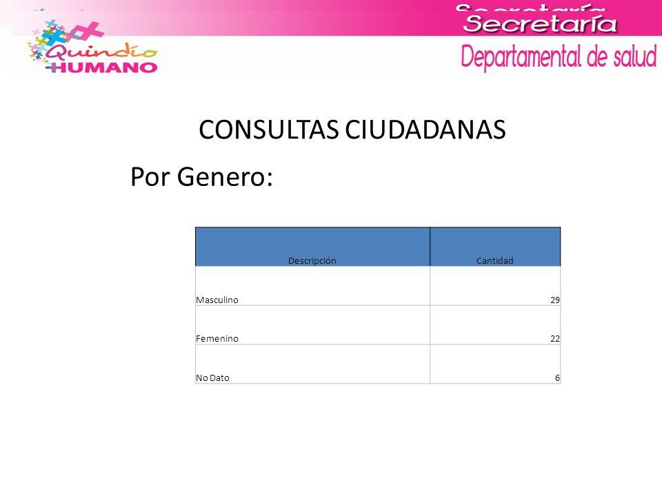 CONSULTAS CIUDADANAS Por Genero: DescripciónCantidad Masculino29 Femenino22 No Dato6