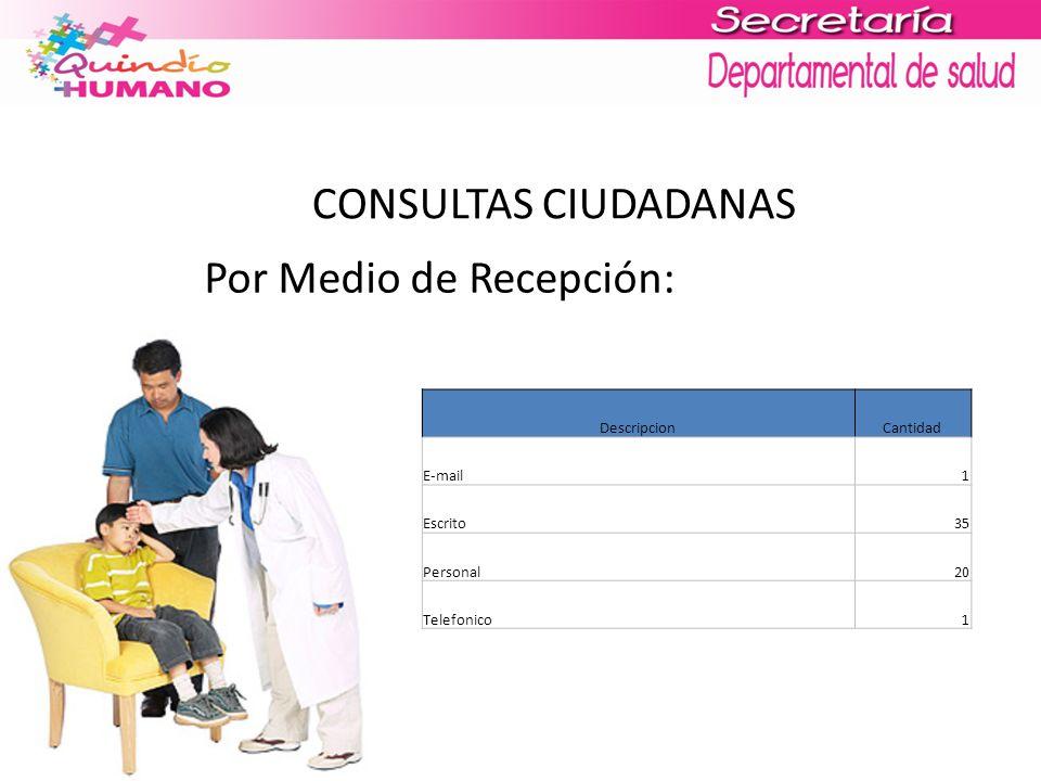 CONSULTAS CIUDADANAS Por Medio de Recepción: DescripcionCantidad E-mail1 Escrito35 Personal20 Telefonico1