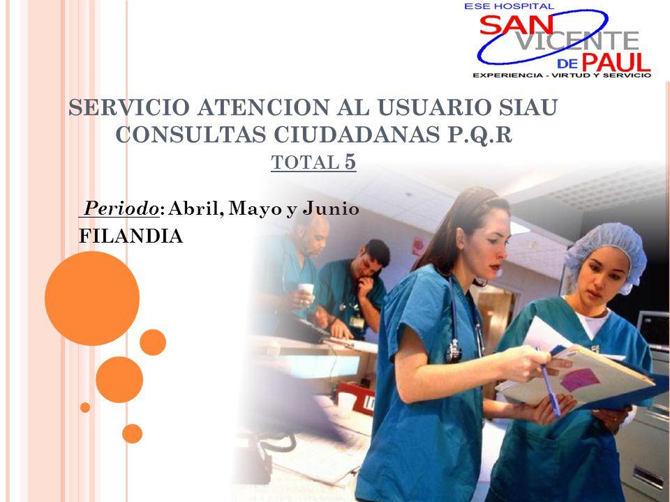 SERVICIO ATENCION AL USUARIO SIAU CONSULTAS CIUDADANAS P.Q.R TOTAL 5 Periodo : Abril, Mayo y Junio FILANDIA