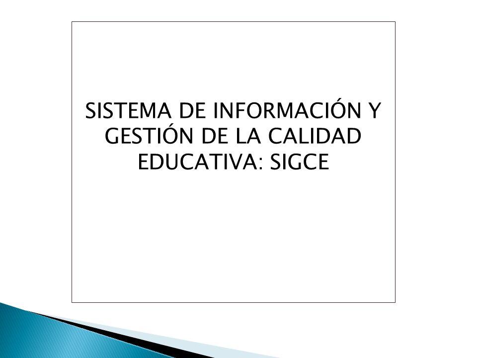 SISTEMA DE INFORMACIÓN Y GESTIÓN DE LA CALIDAD EDUCATIVA: SIGCE