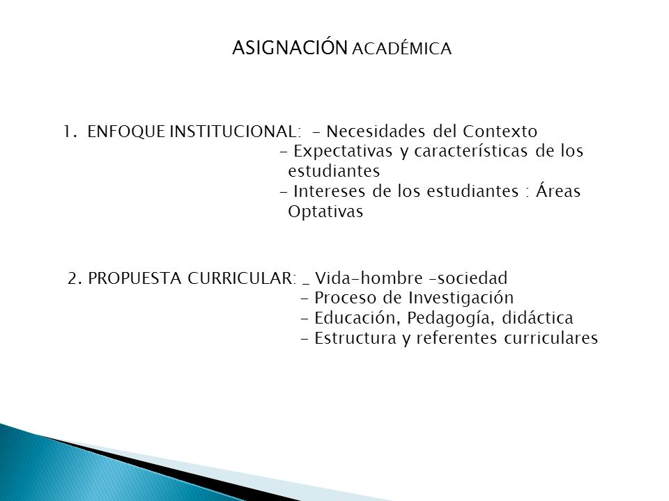 ASIGNACIÓN ACADÉMICA 1.ENFOQUE INSTITUCIONAL: - Necesidades del Contexto - Expectativas y características de los estudiantes - Intereses de los estudi