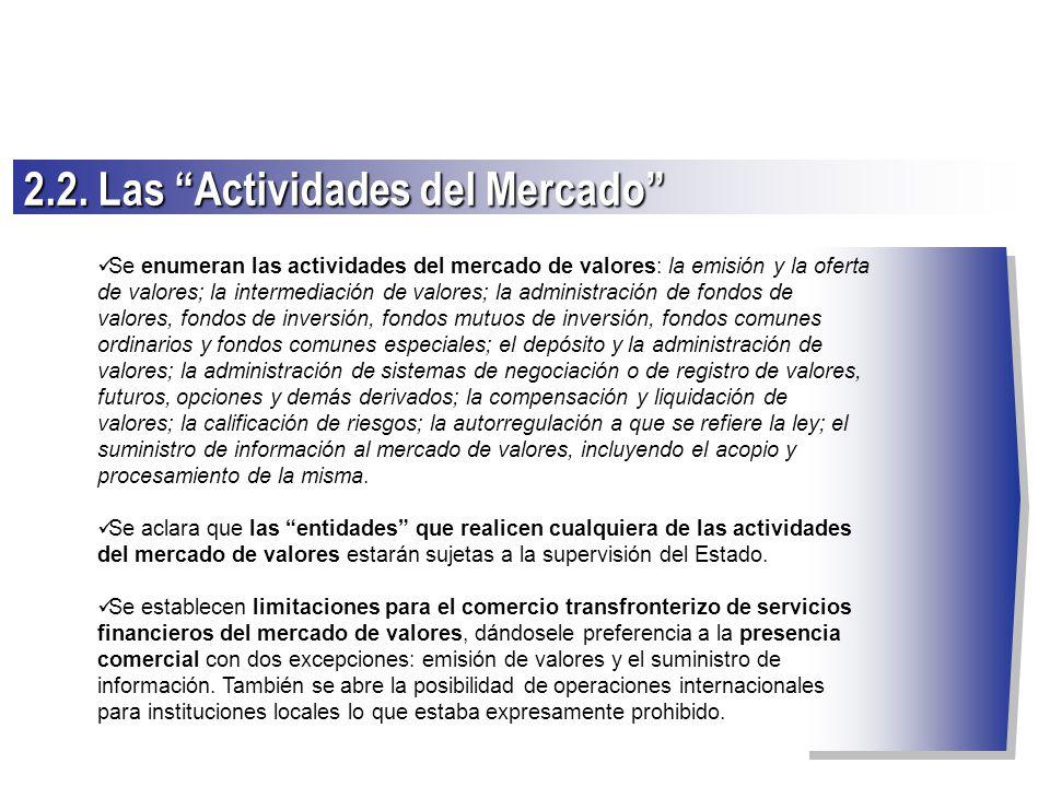 Se enumeran las actividades del mercado de valores: la emisión y la oferta de valores; la intermediación de valores; la administración de fondos de va