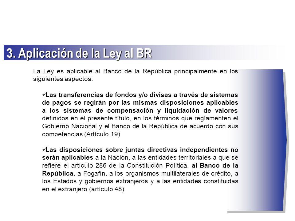 La Ley es aplicable al Banco de la República principalmente en los siguientes aspectos: Las transferencias de fondos y/o divisas a través de sistemas