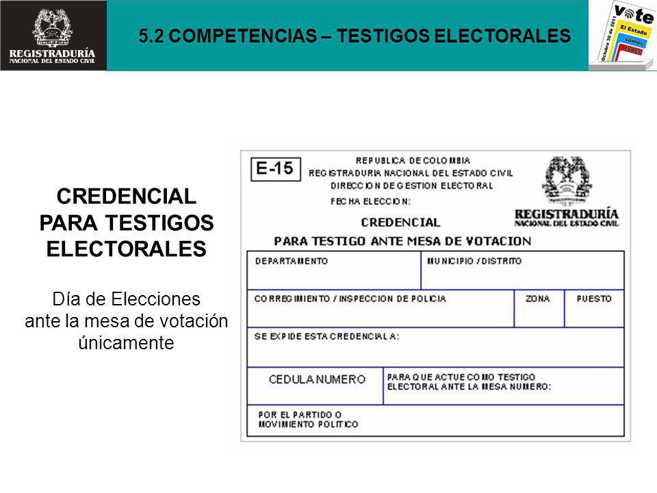 CREDENCIAL PARA TESTIGOS ELECTORALES Día de Elecciones ante la mesa de votación únicamente 5.2 COMPETENCIAS – TESTIGOS ELECTORALES
