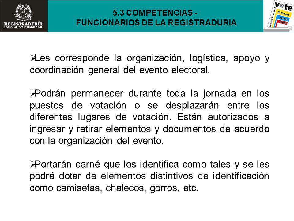 Les corresponde la organización, logística, apoyo y coordinación general del evento electoral. Podrán permanecer durante toda la jornada en los puesto