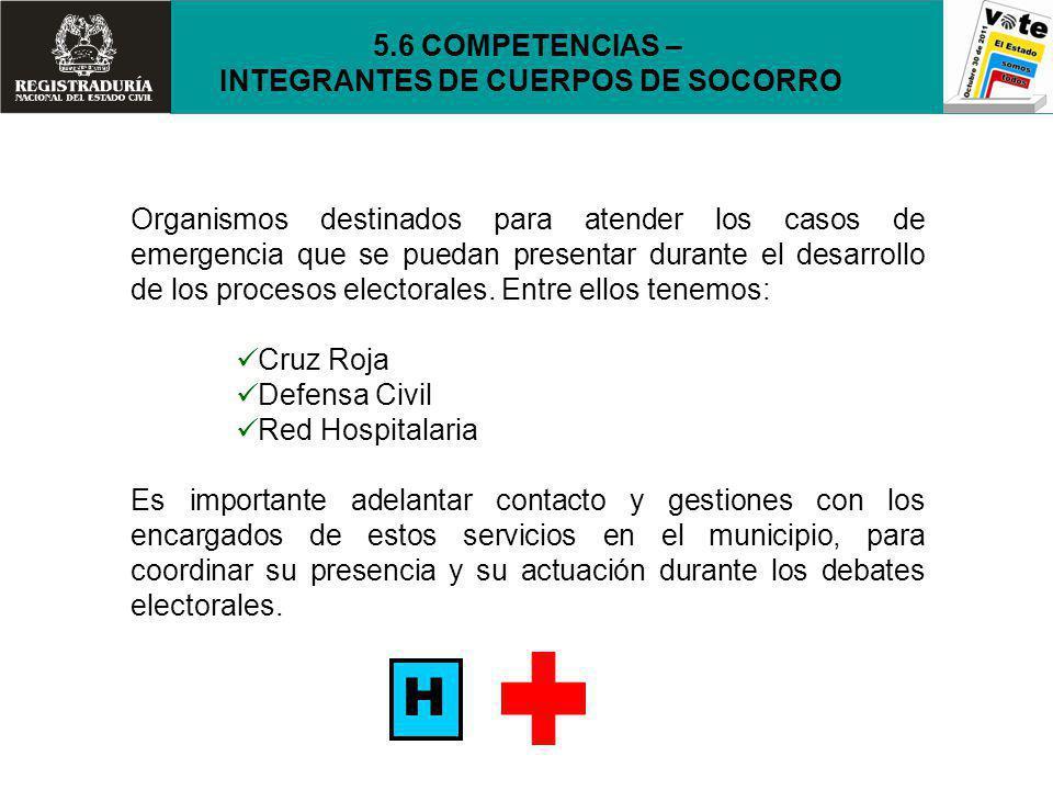 Organismos destinados para atender los casos de emergencia que se puedan presentar durante el desarrollo de los procesos electorales. Entre ellos tene