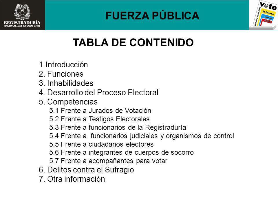 FUERZA PÚBLICA TABLA DE CONTENIDO 1.Introducción 2. Funciones 3. Inhabilidades 4. Desarrollo del Proceso Electoral 5. Competencias 5.1 Frente a Jurado