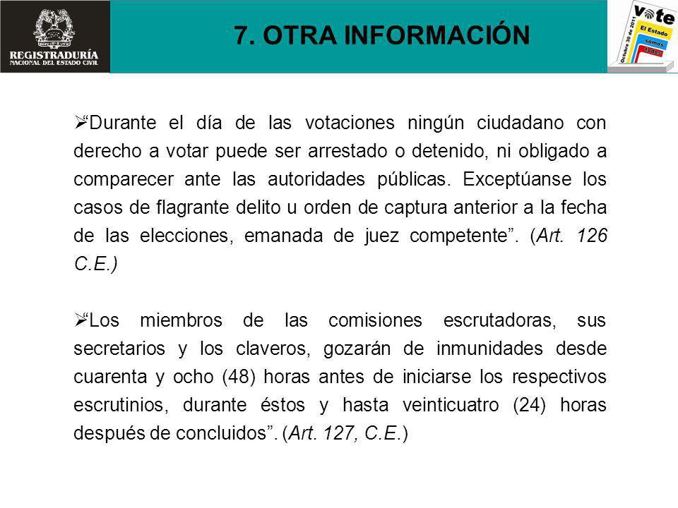 Durante el día de las votaciones ningún ciudadano con derecho a votar puede ser arrestado o detenido, ni obligado a comparecer ante las autoridades pú
