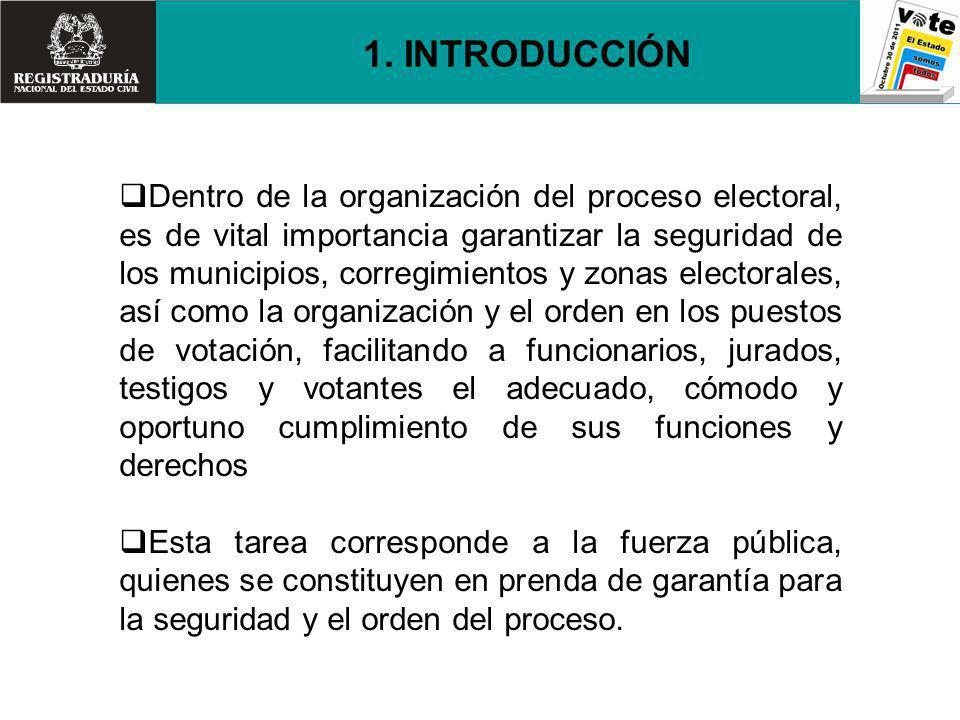 La organización del proceso electoral en cada municipio, requiere del apoyo de la fuerza pública en los siguientes aspectos: Seguridad, dentro y fuera de las zonas electorales y sus perímetros.