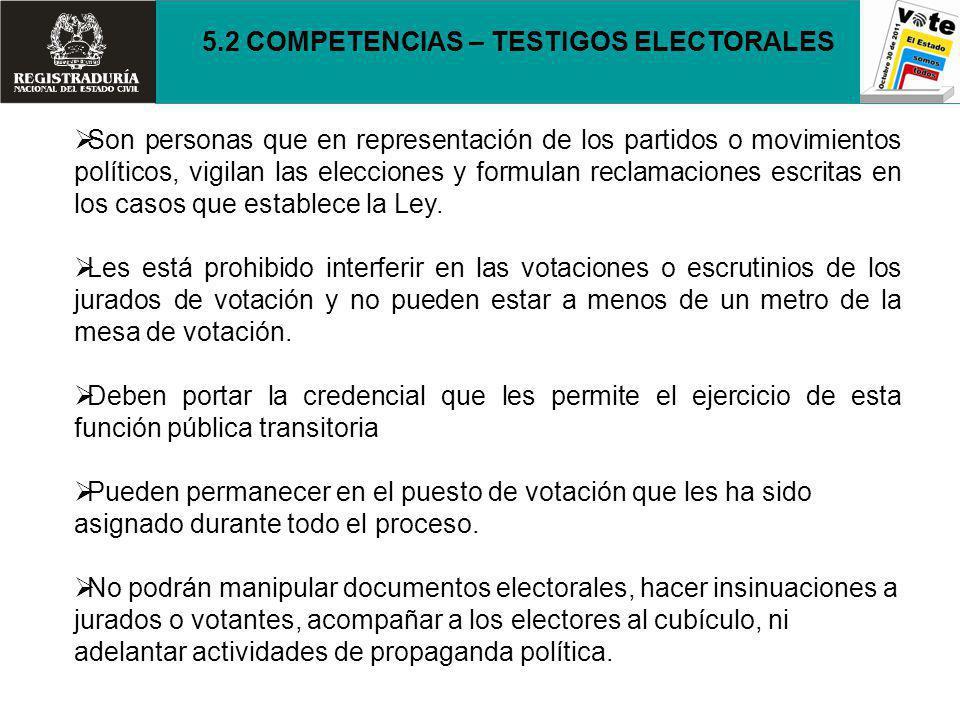Son personas que en representación de los partidos o movimientos políticos, vigilan las elecciones y formulan reclamaciones escritas en los casos que