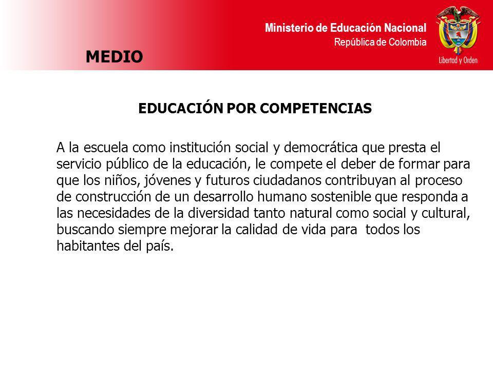 Ministerio de Educación Nacional República de Colombia MEDIO EDUCACIÓN POR COMPETENCIAS A la escuela como institución social y democrática que presta