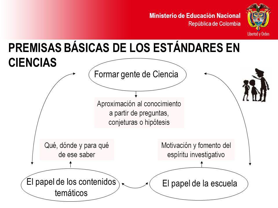 Ministerio de Educación Nacional República de Colombia PREMISAS BÁSICAS DE LOS ESTÁNDARES EN CIENCIAS Qué, dónde y para qué de ese saber El papel de l
