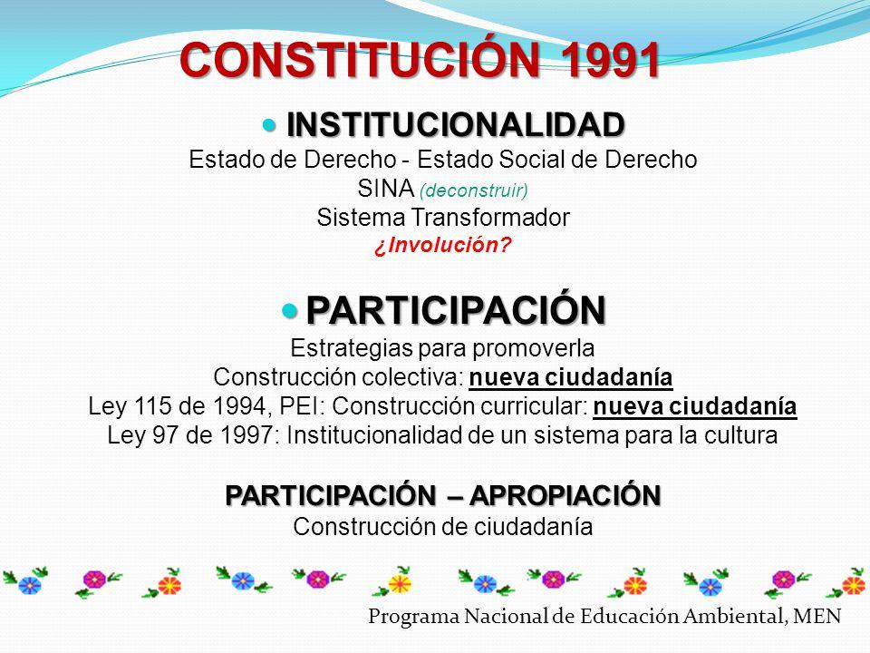 PRAE Dimensión Ambiental Dimensión Educativa Visión Sistémica (implicación) Formación Integral (implicación) Conflictos de Interacción Estrategias para el fortalecimiento de la acción local CIDEA Dimensión Institucional Dimensión Interinstitucional Visión Sistémica (implicación) Gestión - Asesoría (implicación) PROCEDA Dimensión Comunitaria Dimensión Interinstitucional Visión Sistémica (implicación) Gestión - Asesoría (implicación) DIMENSIÓNAMBIENTALDIMENSIÓNAMBIENTAL DIMENSIÓNEDUCATIVADIMENSIÓNEDUCATIVA Participación Apropiación Programa Nacional de Educación Ambiental, MEN