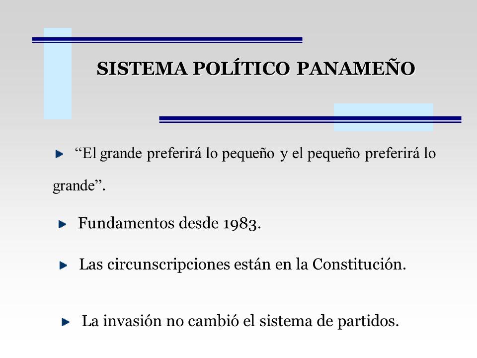SISTEMA POLÍTICO PANAMEÑO El grande preferirá lo pequeño y el pequeño preferirá lo grande.