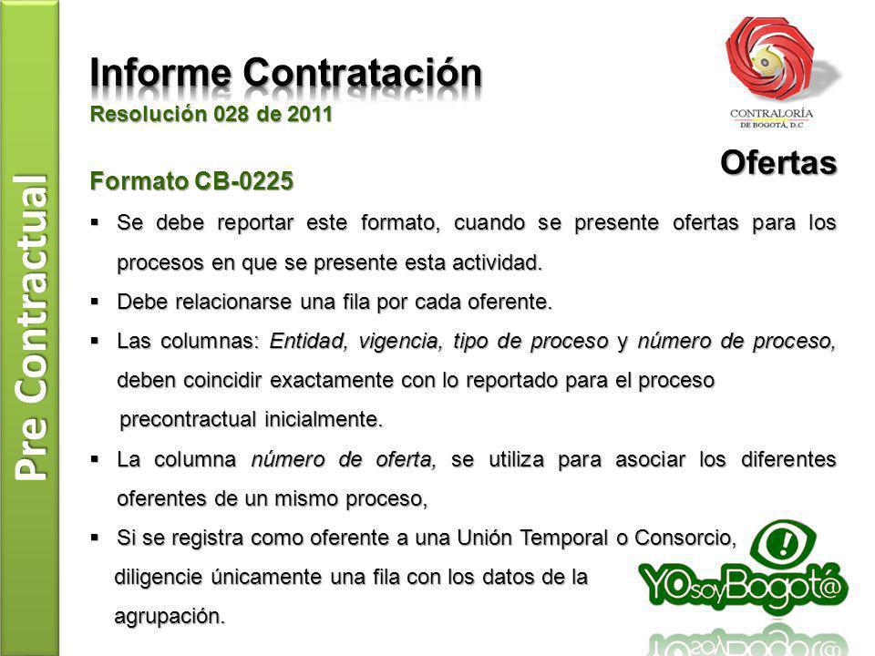 Pre Contractual Resolución 028 de 2011 Formato CB-0225 Se debe reportar este formato, cuando se presente ofertas para los procesos en que se presente