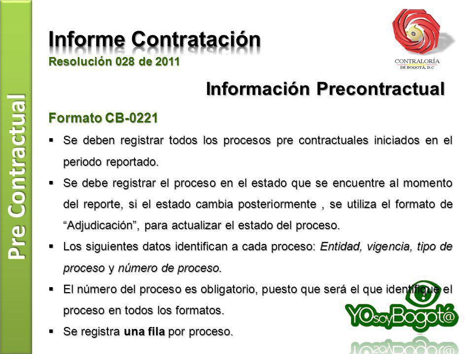 Pre Contractual Resolución 028 de 2011 Formato CB-0222 Se debe registrar la información presupuestal de todos los procesos iniciados, reportados en el formato CB-0221.