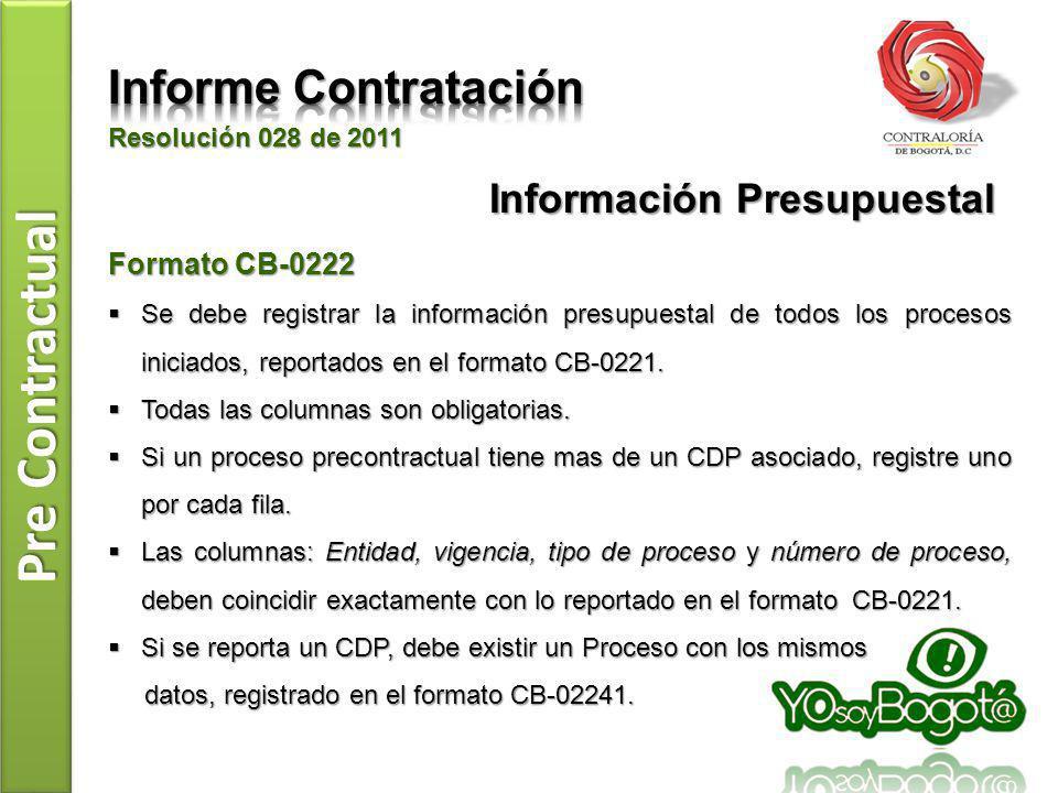Pre Contractual Resolución 028 de 2011 Formato CB-0222 Se debe registrar la información presupuestal de todos los procesos iniciados, reportados en el