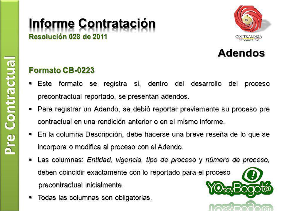 Pre Contractual Resolución 028 de 2011 Formato CB-0223 Este formato se registra si, dentro del desarrollo del proceso precontractual reportado, se pre