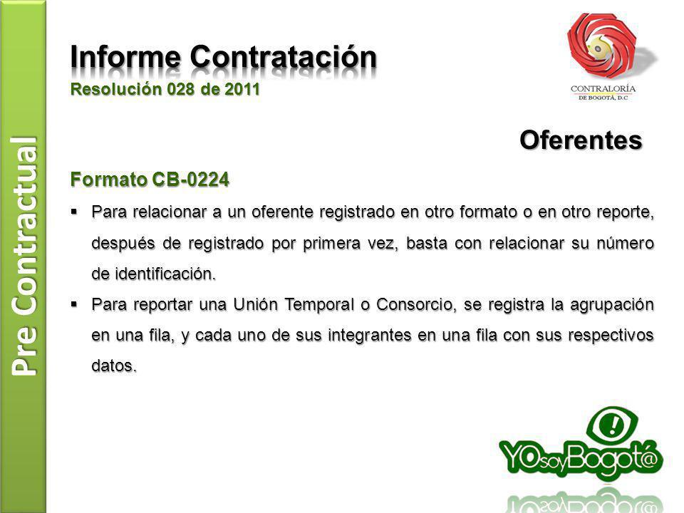 Pre Contractual Resolución 028 de 2011 Formato CB-0224 Para relacionar a un oferente registrado en otro formato o en otro reporte, después de registra
