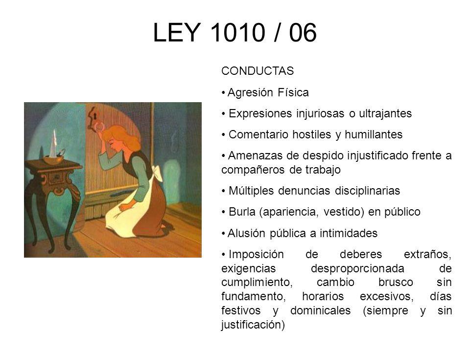 LEY 1010 / 06 CONDUCTAS Agresión Física Expresiones injuriosas o ultrajantes Comentario hostiles y humillantes Amenazas de despido injustificado frent