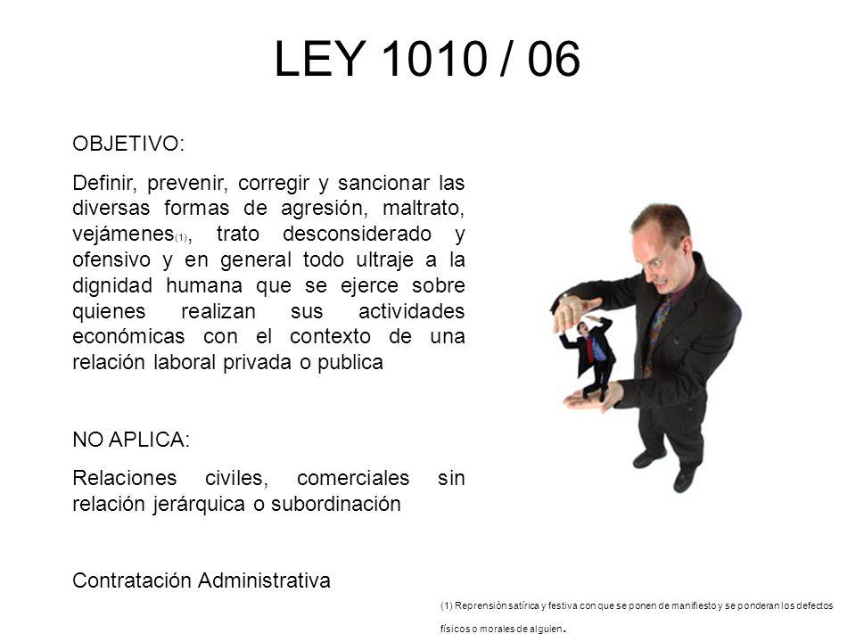 LEY 1010 / 06 OBJETIVO: Definir, prevenir, corregir y sancionar las diversas formas de agresión, maltrato, vejámenes (1), trato desconsiderado y ofens