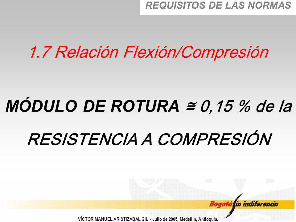 MÓDULO DE ROTURA 0,15 % de la RESISTENCIA A COMPRESIÓN VÍCTOR MANUEL ARISTIZÁBAL GIL - Julio de 2005, Medellín, Antioquia. 1.7 Relación Flexión/Compre