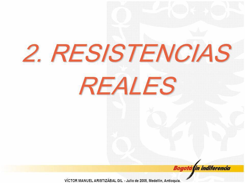 2. RESISTENCIAS REALES VÍCTOR MANUEL ARISTIZÁBAL GIL - Julio de 2005, Medellín, Antioquia.