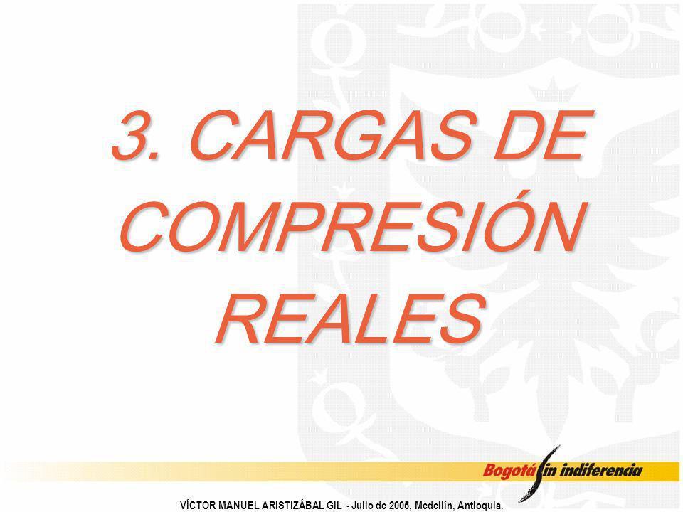 3. CARGAS DE COMPRESIÓN REALES VÍCTOR MANUEL ARISTIZÁBAL GIL - Julio de 2005, Medellín, Antioquia.