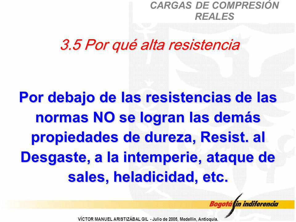 VÍCTOR MANUEL ARISTIZÁBAL GIL - Julio de 2005, Medellín, Antioquia. 3.5 Por qué alta resistencia Por debajo de las resistencias de las normas NO se lo