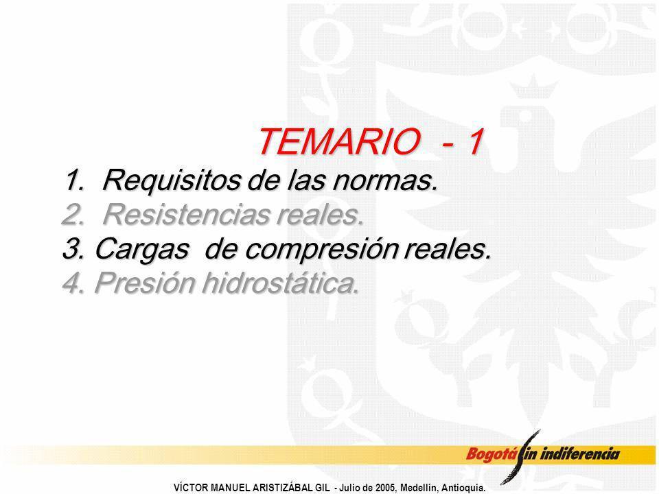 VÍCTOR MANUEL ARISTIZÁBAL GIL - Julio de 2005, Medellín, Antioquia. TEMARIO - 1 1. Requisitos de las normas. 2. Resistencias reales. 3. Cargas de comp