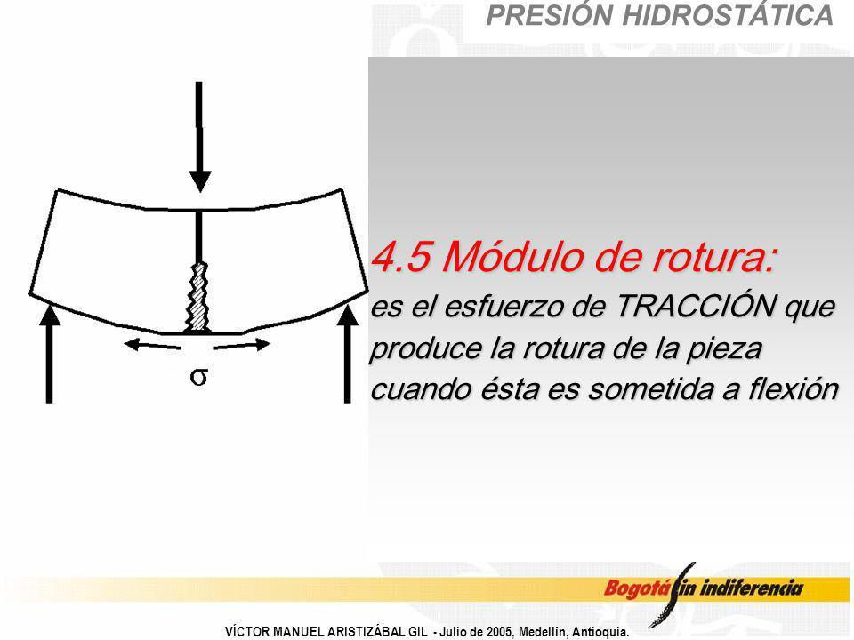 VÍCTOR MANUEL ARISTIZÁBAL GIL - Julio de 2005, Medellín, Antioquia. 4.5 Módulo de rotura: es el esfuerzo de TRACCIÓN que produce la rotura de la pieza