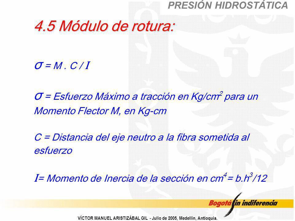 VÍCTOR MANUEL ARISTIZÁBAL GIL - Julio de 2005, Medellín, Antioquia. 4.5 Módulo de rotura: 4.5 Módulo de rotura: σ = M. C / I σ = Esfuerzo Máximo a tra