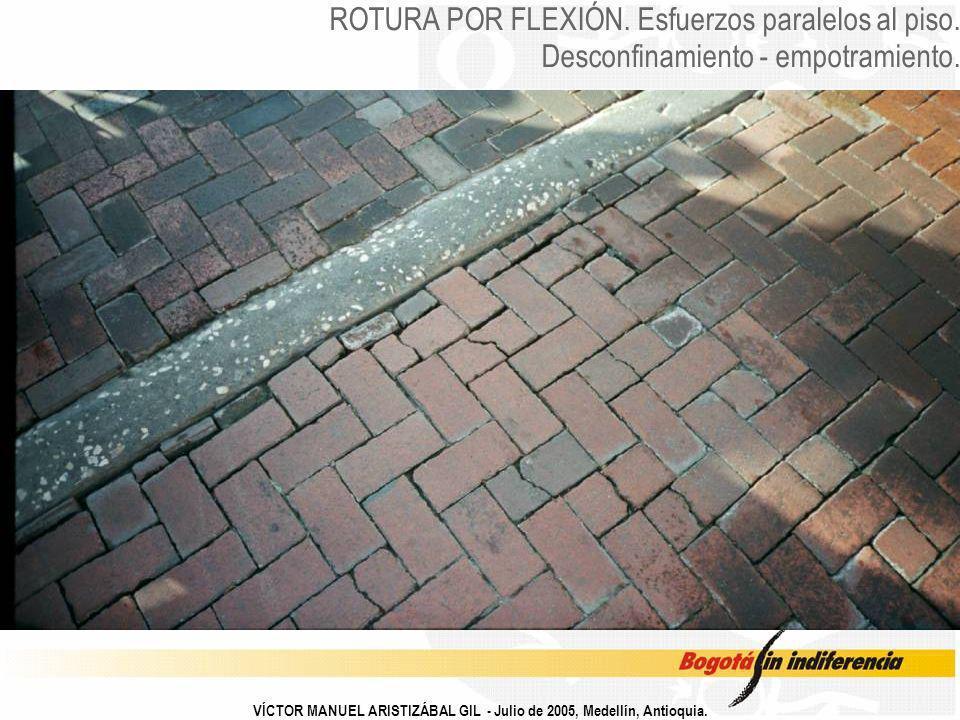 VÍCTOR MANUEL ARISTIZÁBAL GIL - Julio de 2005, Medellín, Antioquia. ROTURA POR FLEXIÓN. Esfuerzos paralelos al piso. Desconfinamiento - empotramiento.