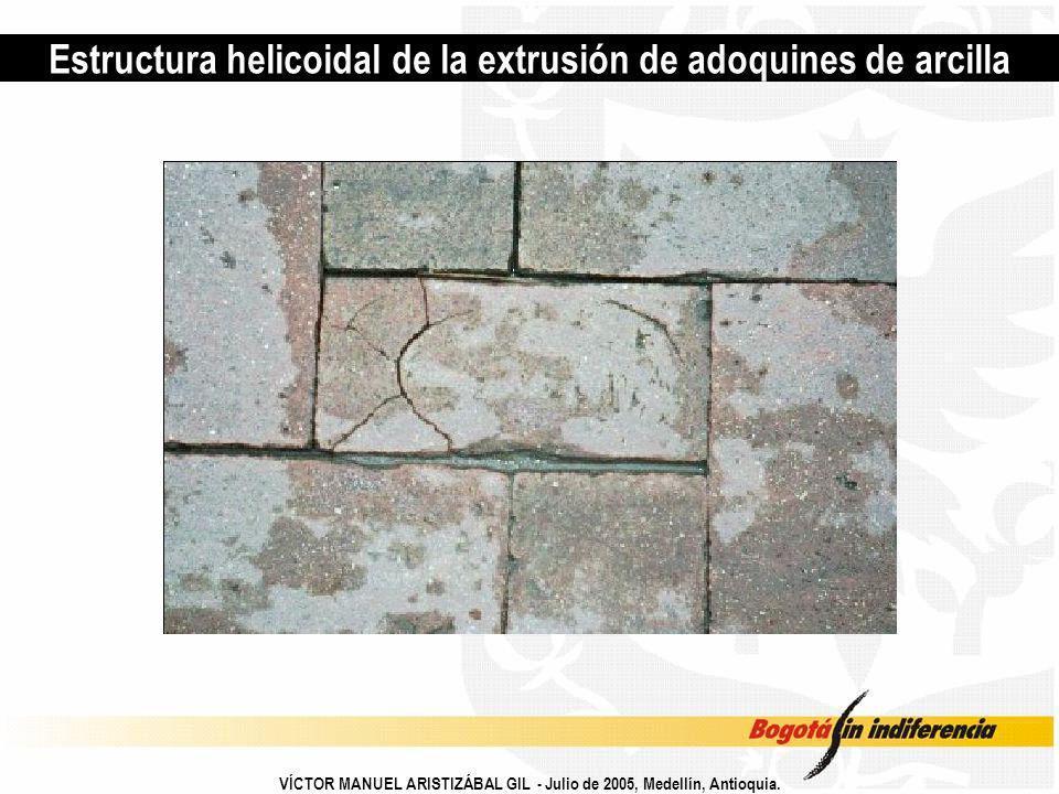 Estructura helicoidal de la extrusión de adoquines de arcilla VÍCTOR MANUEL ARISTIZÁBAL GIL - Julio de 2005, Medellín, Antioquia.