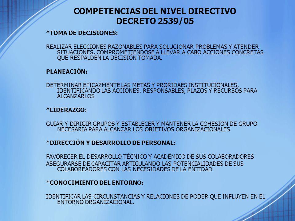 COMPETENCIAS DEL NIVEL DIRECTIVO DECRETO 2539/05 *TOMA DE DECISIONES: REALIZAR ELECCIONES RAZONABLES PARA SOLUCIONAR PROBLEMAS Y ATENDER SITUACIONES,