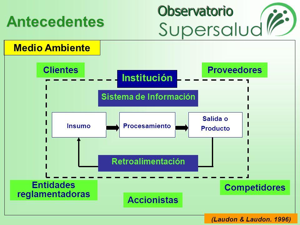 Observatorio InsumoProcesamiento Salida o Producto Retroalimentación Sistema de Información Institución Medio Ambiente ClientesProveedores Entidades reglamentadoras Accionistas Competidores (Laudon & Laudon.