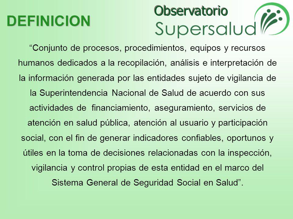 Observatorio EPS Direcciones Territoriales de Salud IPS SUPERSALUD WEB ARS Monopolio Rentístico Juegos de Azar EAPB Monopolio Rentístico Licores