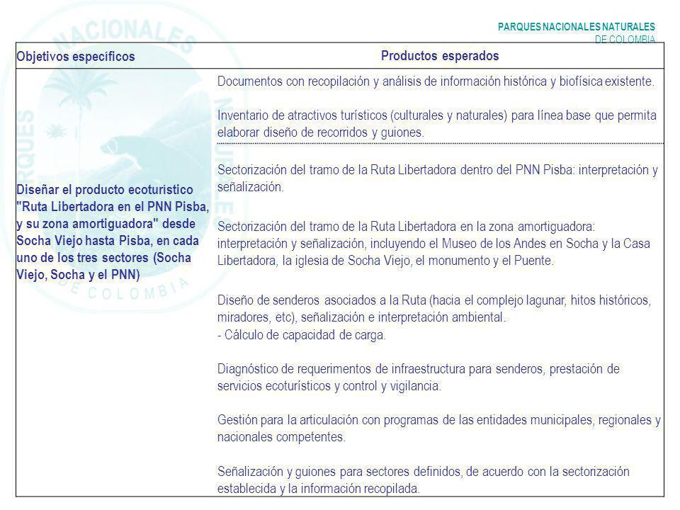 PARQUES NACIONALES NATURALES DE COLOMBIA Objetivos específicos Productos esperados Diseñar el producto ecoturístico Ruta Libertadora en el PNN Pisba, y su zona amortiguadora desde Socha Viejo hasta Pisba, en cada uno de los tres sectores (Socha Viejo, Socha y el PNN) Documentos con recopilación y análisis de información histórica y biofísica existente.