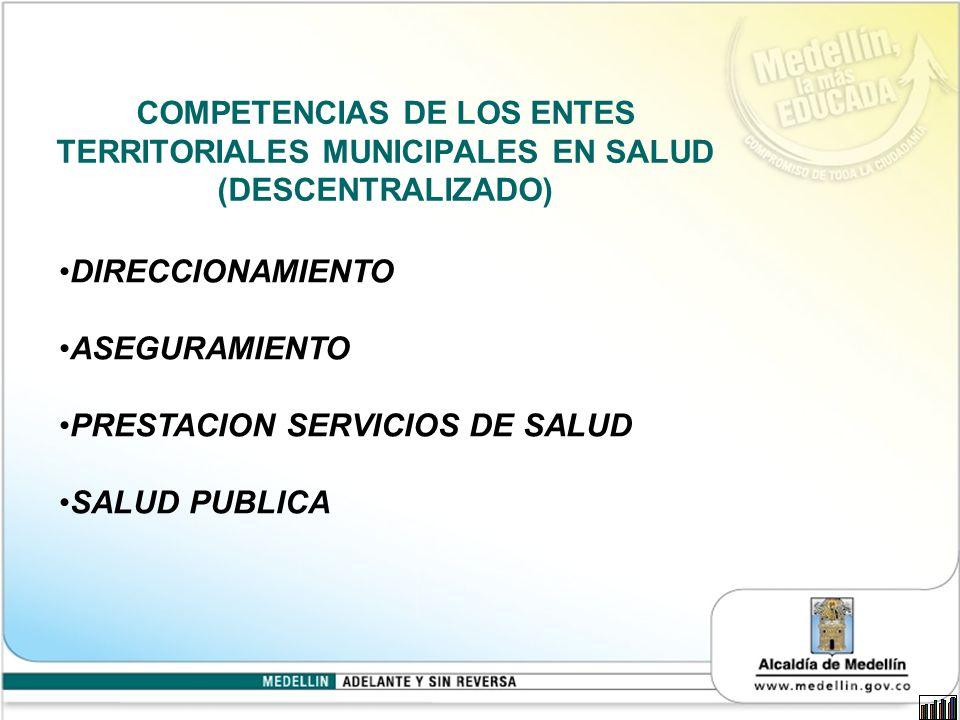 COMPETENCIAS DE LOS ENTES TERRITORIALES MUNICIPALES EN SALUD (DESCENTRALIZADO) DIRECCIONAMIENTO ASEGURAMIENTO PRESTACION SERVICIOS DE SALUD SALUD PUBLICA