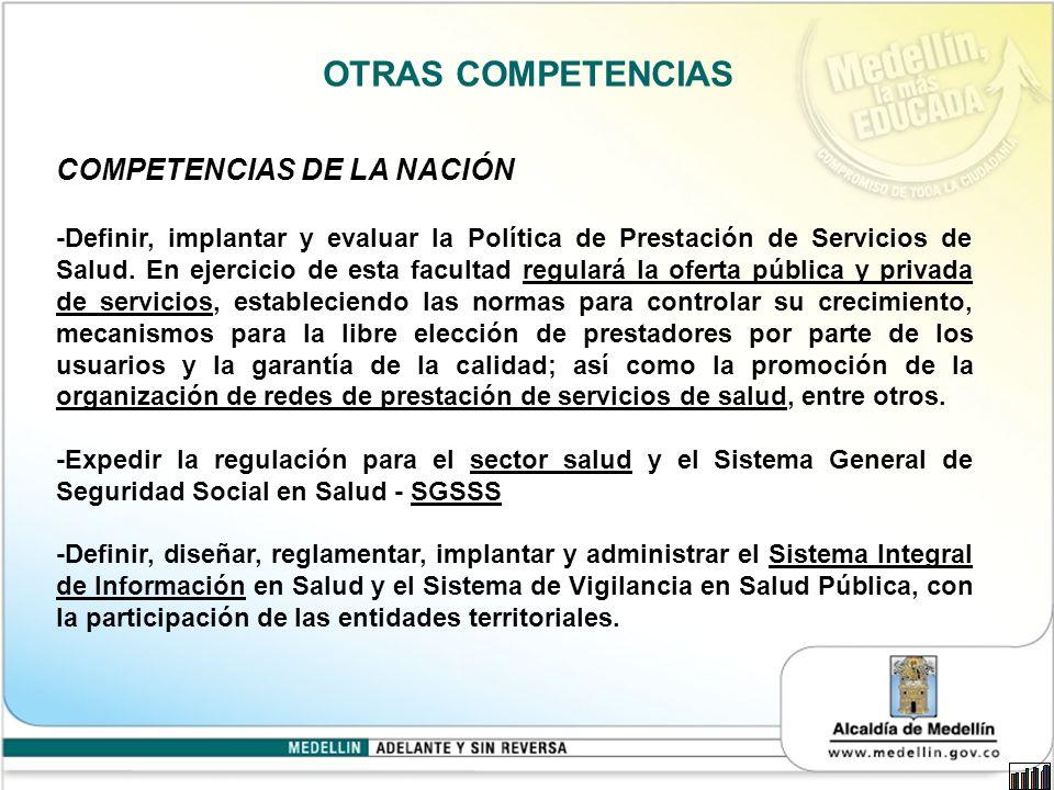 OTRAS COMPETENCIAS COMPETENCIAS DE LA NACIÓN -Definir, implantar y evaluar la Política de Prestación de Servicios de Salud.