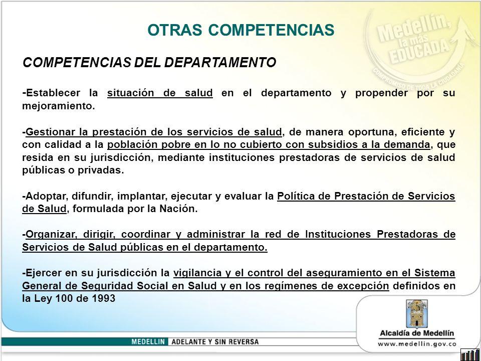 OTRAS COMPETENCIAS COMPETENCIAS DEL DEPARTAMENTO - Establecer la situación de salud en el departamento y propender por su mejoramiento.