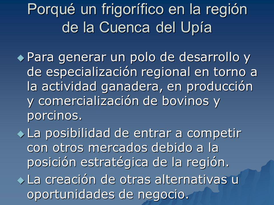 Porqué un frigorífico en la región de la Cuenca del Upía Para generar un polo de desarrollo y de especialización regional en torno a la actividad gana
