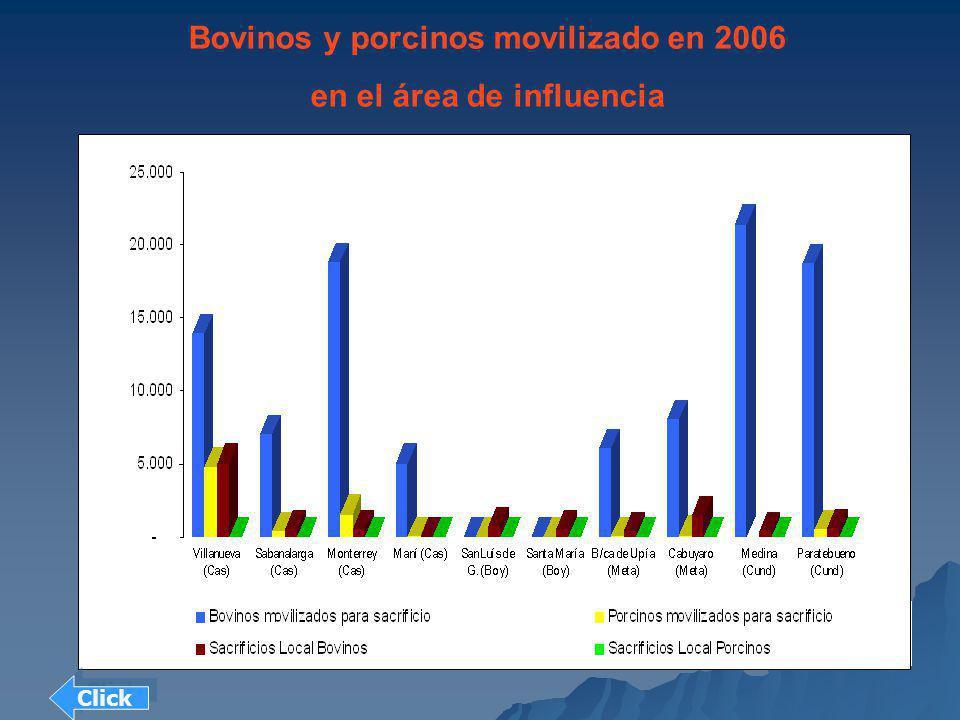 Bovinos y porcinos movilizado en 2006 en el área de influencia Click