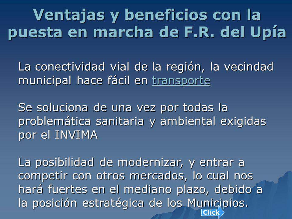 Ventajas y beneficios con la puesta en marcha de F.R. del Upía La conectividad vial de la región, la vecindad municipal hace fácil en t t t t t rrrr a