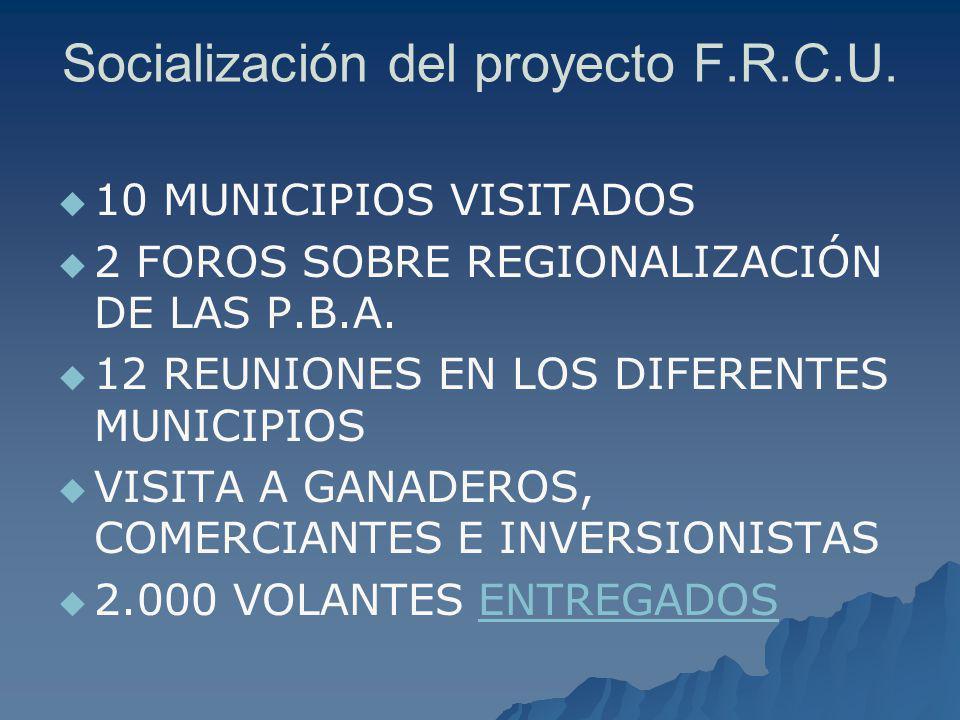 Socialización del proyecto F.R.C.U. 10 MUNICIPIOS VISITADOS 2 FOROS SOBRE REGIONALIZACIÓN DE LAS P.B.A. 12 REUNIONES EN LOS DIFERENTES MUNICIPIOS VISI