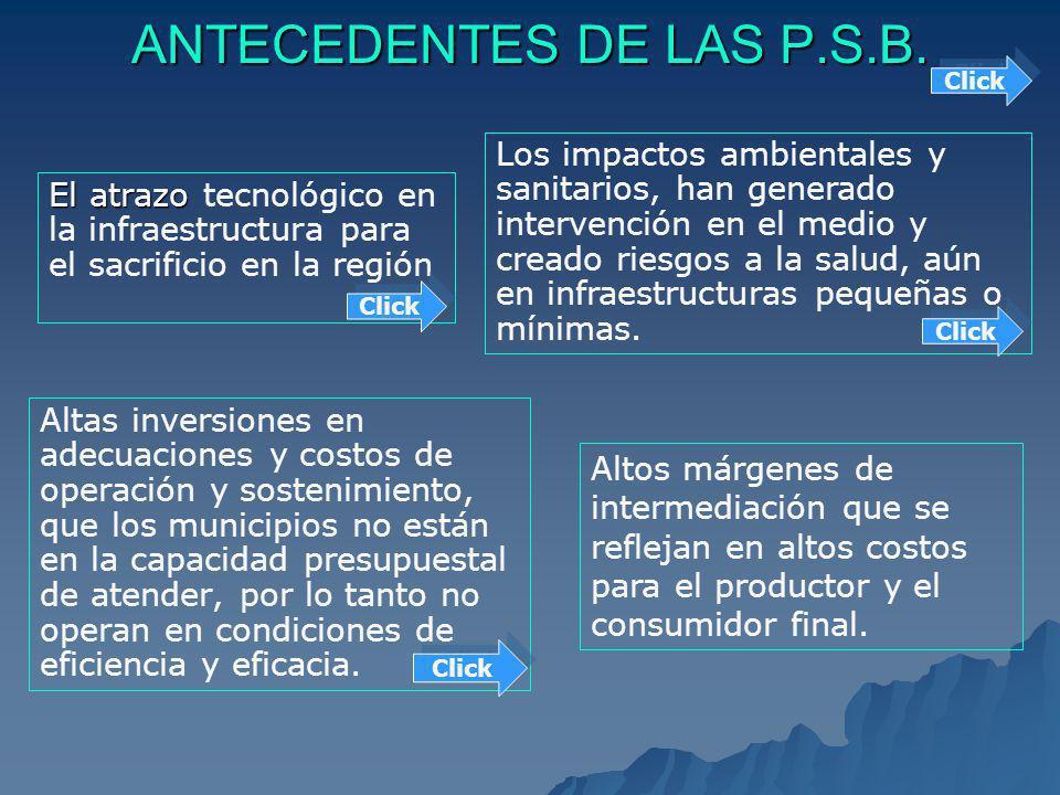 ANTECEDENTES DE LAS P.S.B. El atrazo tecnológico en la infraestructura para el sacrificio en la región Altas inversiones en adecuaciones y costos de o