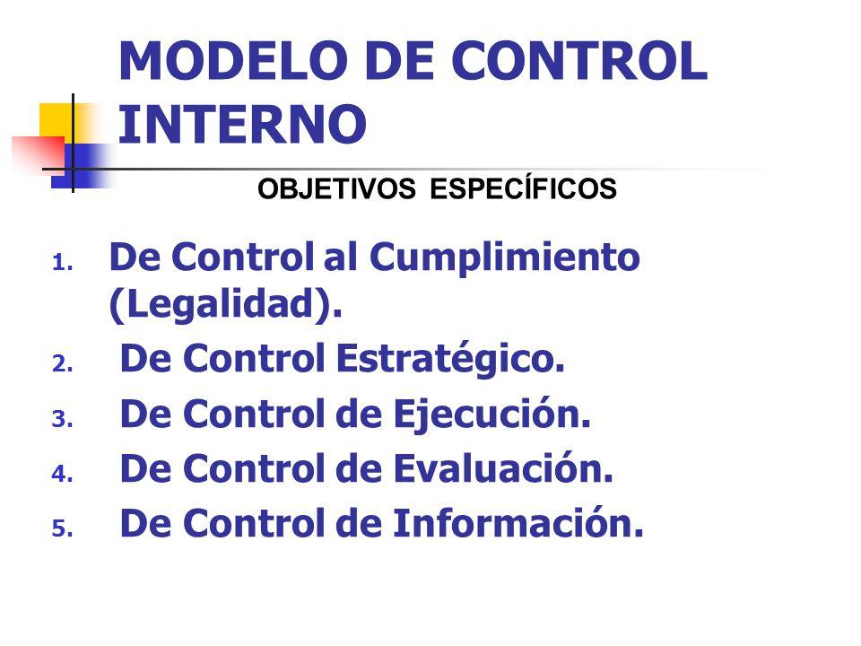 MODELO DE CONTROL INTERNO 1. De Control al Cumplimiento (Legalidad). 2. De Control Estratégico. 3. De Control de Ejecución. 4. De Control de Evaluació