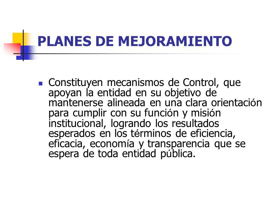 PLANES DE MEJORAMIENTO Constituyen mecanismos de Control, que apoyan la entidad en su objetivo de mantenerse alineada en una clara orientaci ó n para